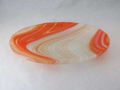 OV18033 - Clear, White, Yellow & Orange Oval Serving Dish