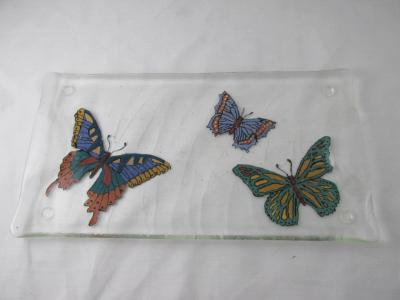 TR17005 - Hand painted Butterfly Textured Tray