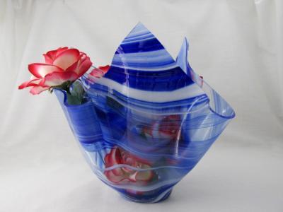 VA1178 - Cobalt Blue & White Baroque Centerpiece Vase