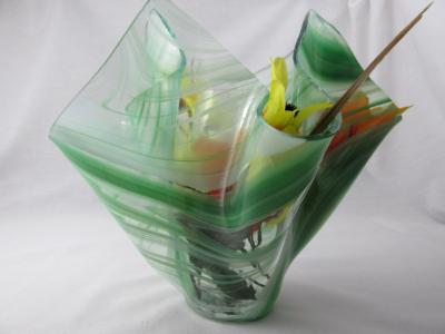 VA1158 - Dark Green & White Streaky Baroque Centerpiece Vase