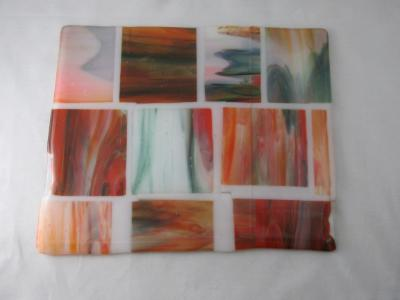"CB6019 - ""Bits & Pieces"" Deep Forest Green & Orange Opal Streaky Cutting / Cheese Board"