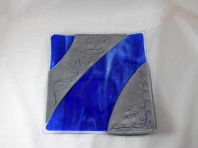 LD11010 - Designer Plate, Cobalt Blue Streaky & Pewter