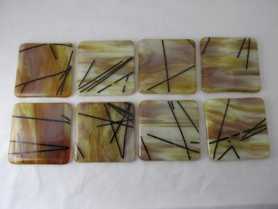 CO1218 - Caramel Streaky with Black Chopstix Coasters
