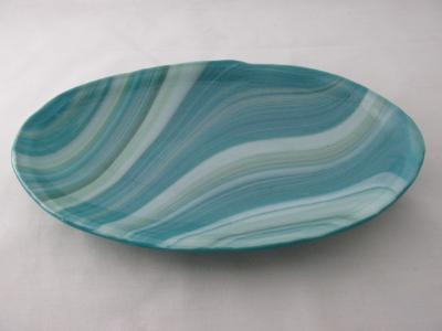 OV18037 - Peacock, White & Mint Oval Serving Dish