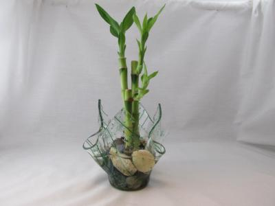 VO2177 - Green Frit/Streamer Tall Votive Bamboo Planter