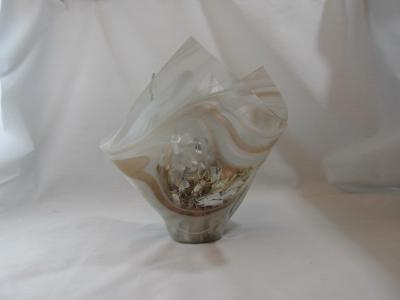 VA1114 - Champagne Pink & White Streaky Baroque Christmas Centerpiece Vase
