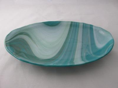OV18039 - Peacock, White & Mint Oval Serving Dish