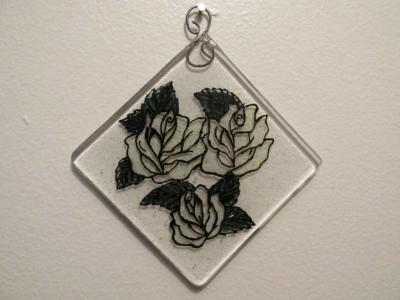 WS10050 - Rhombus Triple White Roses wall sculpture