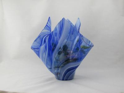 VA1117 - Cobalt Blue & White Baroque Centerpiece Vase