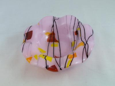 CD3009 - Pink with Autumn Collage Small Candy Dish