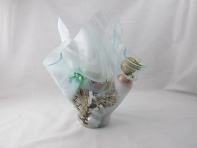 VA1137 - White Streaky Baroque Centerpiece Vase - Christmas