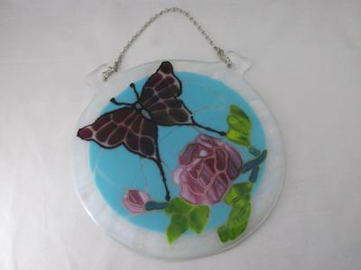 "WS10048 - ""Stained Glass"" Butterfly over Peonies Wall Sculpture"
