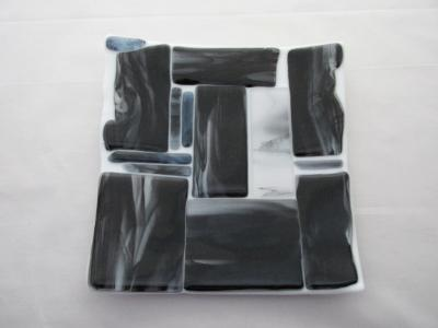 "SD9019 - White with Black Wispy 8"" Square Dinner Plate"