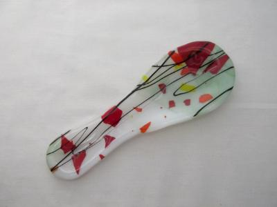 """SR12092 - Lt. Green and White Steaky with """"Autumn"""" Collage Small Spoon Rest"""