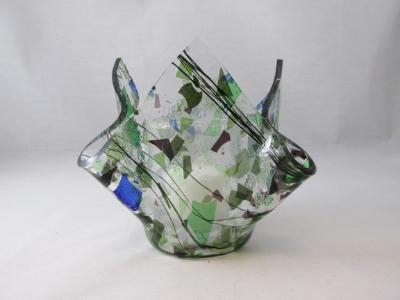 VO2125 - Green, Purple & Blue Collage Lotus Votive Holder