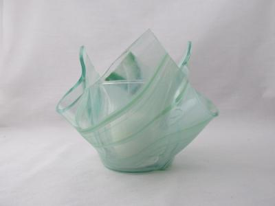 VO2136 - Green & White Streaky Baroque Lotus Votive Holder