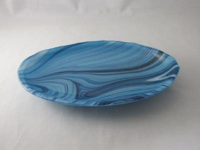 OV18036 - Turquoise Blue, White & Aventurine Oval Serving Dish