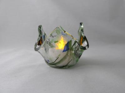QT16047 - Green, Purple & Blue Collage Tea Light Holders