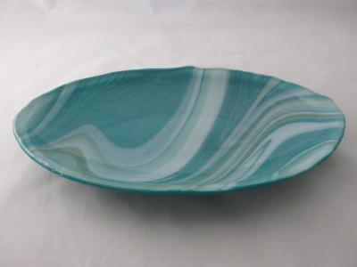 OV18038 - Peacock, White & Mint Oval Serving Dish